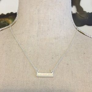 Jewelry - Opalescent inlaid silver tone bar necklace